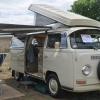 Bessie Mae Cooley (#1320) - 1968 Pearl White & Herb Green Trim Bus (Bay Window) Camper